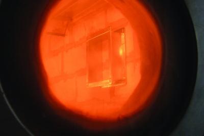 Brandschutzklappe im Ofen zur Prüfung