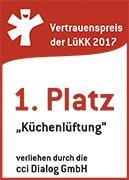 Platz1 bei Küchenlüftung. Vertrauenspreis der LüKK 2017 (Lüftungs-, Klima- und Kältebranche).