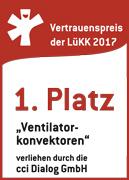 Platz1 bei Ventilatorkonvektoren. Vertrauenspreis der LüKK 2017 (Lüftungs-, Klima- und Kältebranche).